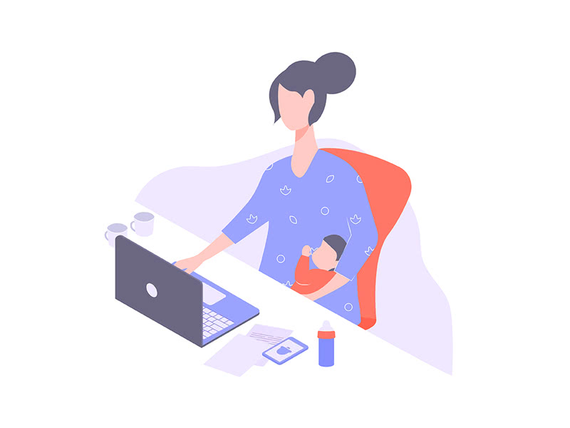 a cartoon woman works on a laptop while holding her baby